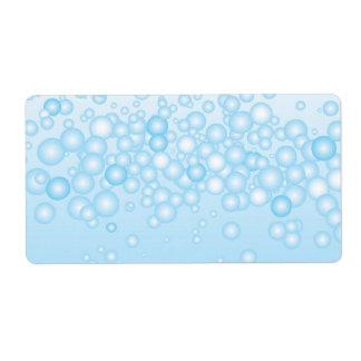 Burbujas azules del baño etiquetas de envío