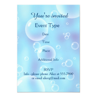 "Burbujas azules que despiden grandes invitación 5"" x 7"""