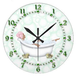 Burbujas brillantes de los números del cuarto de reloj redondo grande