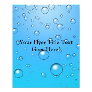 Burbujas claras, agua azul tarjeton