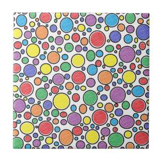 Burbujas coloreadas azulejo cuadrado pequeño