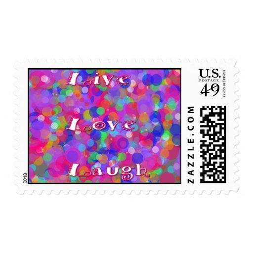 Burbujas coloridas de la risa viva del amor estampilla