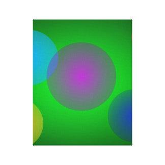 Burbujas coloridas en verde oscuro lona estirada galerias