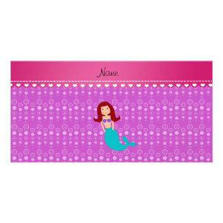 Burbujas conocidas personalizadas de la púrpura de tarjeta con foto personalizada