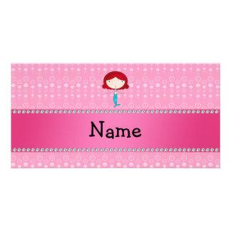 Burbujas conocidas personalizadas del rosa de la s tarjeta fotográfica personalizada