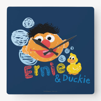 Burbujas de Ernie y de Duckie Reloj Cuadrado
