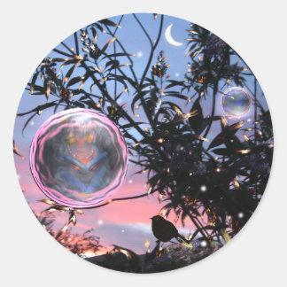 ¡Burbujas de Eve y de la hada de pleno verano! Pegatina Redonda