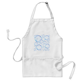 Burbujas de jabón azules transparentes delantal