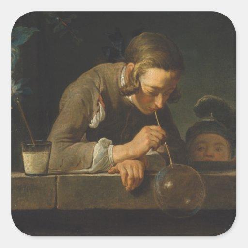 Burbujas de jabón - Jean Siméon Chardin Pegatina Cuadrada