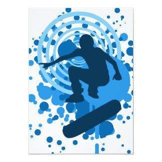 burbujas de la alta fidelidad del monopatín invitación 12,7 x 17,8 cm