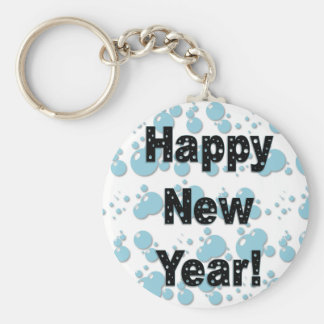 Burbujas de la Feliz Año Nuevo Llavero Redondo Tipo Pin