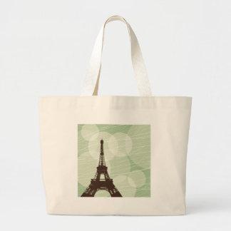 Burbujas de la torre Eiffel - verde Bolsa Tela Grande