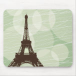Burbujas de la torre Eiffel - verde Tapete De Raton