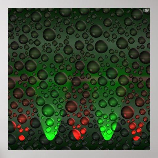 Burbujas de levantamiento verdes/poster rojo