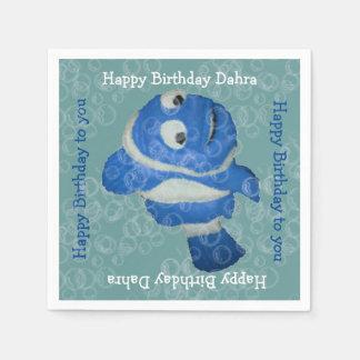 Burbujas de los pescados n (blue) servilleta de papel
