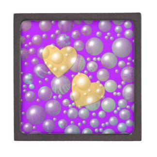 Burbujas de oro de la perla de los corazones caja de joyas de calidad
