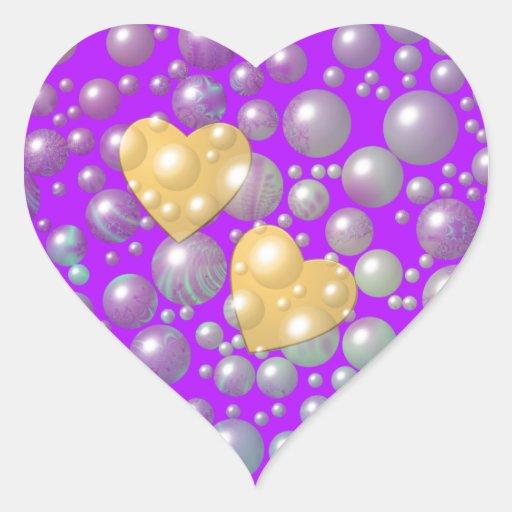Burbujas de oro de la perla de los corazones pegatina en forma de corazón