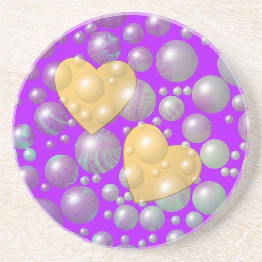 Burbujas de oro de la perla de los corazones posavasos manualidades
