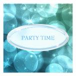 Burbujas de plata elegantes de la estrella azul de invitaciones personales