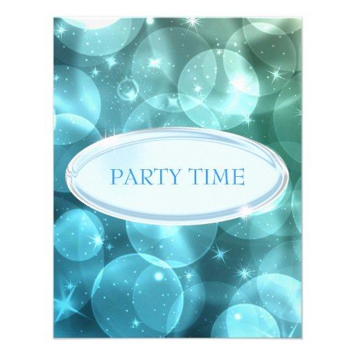 Burbujas de plata elegantes de la estrella azul de anuncio