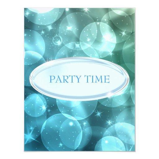 """Burbujas de plata elegantes de la estrella azul invitación 4.25"""" x 5.5"""""""