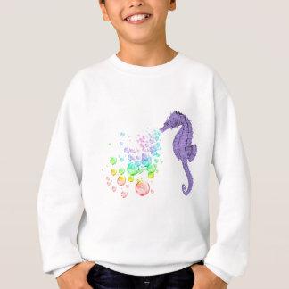 burbujas del arco iris del seahorse que soplan poleras
