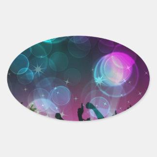 ¡Burbujas del baile! Pegatina Ovalada