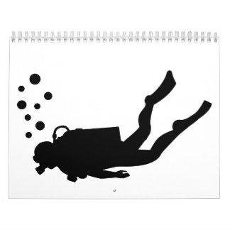 Burbujas del buceador calendario de pared