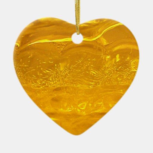 Burbujas del oro adorno navideño de cerámica en forma de corazón