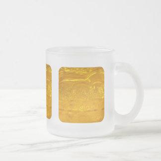 Burbujas del oro taza cristal mate