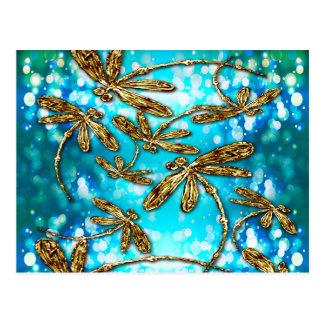 Burbujas del revoloteo de la libélula postales