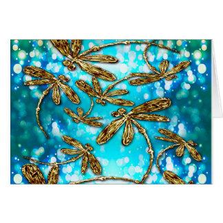 Burbujas del revoloteo de la libélula tarjeta de felicitación