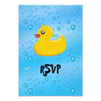 Burbujas Ducky/azules de goma lindas Invitación 8,9 X 12,7 Cm