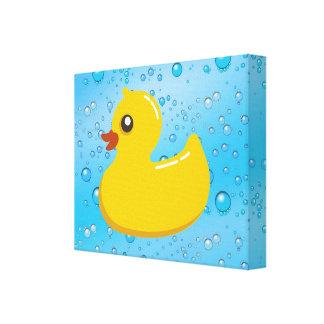 Burbujas Ducky/azules de goma lindas Lona Envuelta Para Galerias