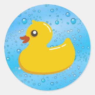 Burbujas Ducky/azules de goma lindas Pegatina Redonda