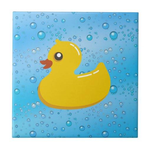 Burbujas Ducky/azules de goma lindas Teja