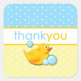 Burbujas Ducky - el azul le agradece los pegatinas Pegatina Cuadrada