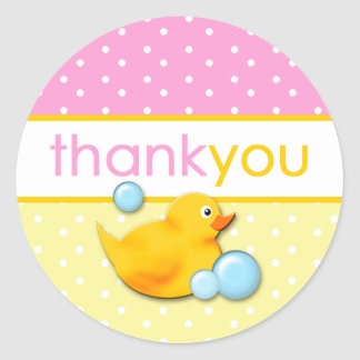 Burbujas Ducky - el rosa le agradece los pegatinas Pegatina Redonda