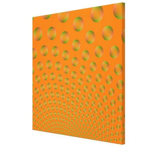 Burbujas en la impresión anaranjada y verde de la  impresiones en lienzo estiradas