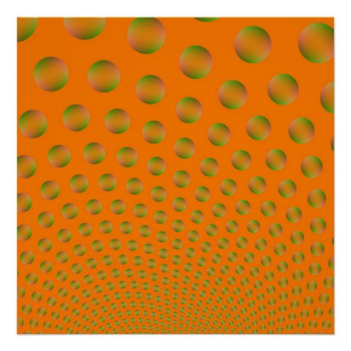 Burbujas en poster anaranjado y verde