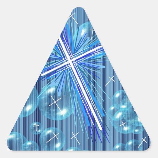 Burbujas flotantes y la cruz pegatinas trianguloes