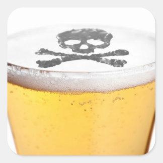 Burbujas principales de la cerveza pegatina cuadrada
