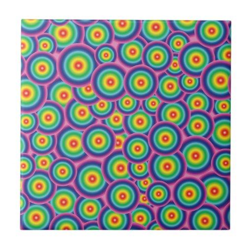 Burbujas psicodélicas del arco iris de la teja
