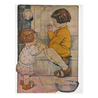Burbujas que soplan del vintage postales