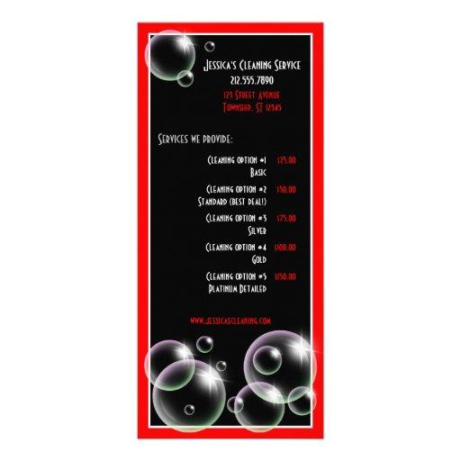 Burbujas rojas que limpian tarjetas del estante de tarjetas publicitarias a todo color
