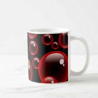 Burbujas rojas tazas de café