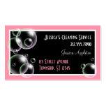Burbujas rosadas que limpian tarjetas de la empres plantilla de tarjeta de negocio