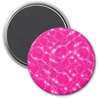 Burbujas translúcidas claras chispeantes en rosas  imán para frigorífico