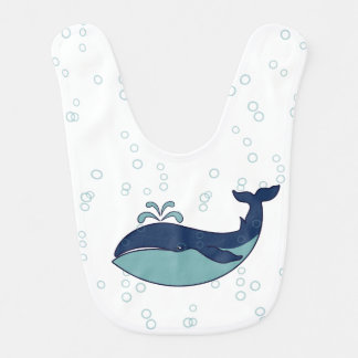 Burbujas y ballena de esperma azules - babero del