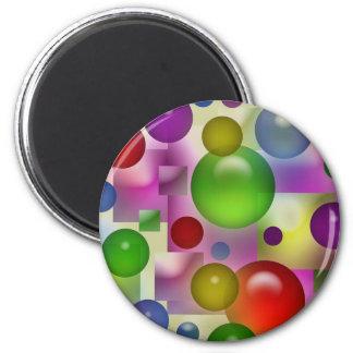 Burbujas y cuadrados coloridos imán redondo 5 cm